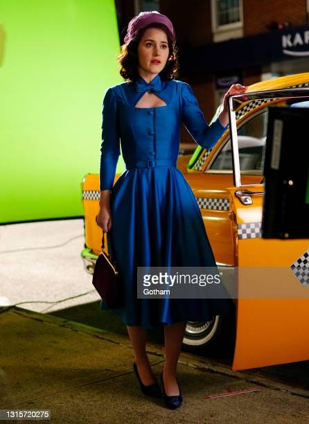 Rachel Brosnahan is seen filming a scene for 'The Marvelous Mrs. Maisel' on May 01, 2021 in New York City.