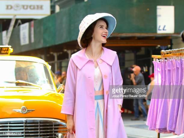 Rachel Brosnahan is seen on film set of 'The Marvelous Mrs. Maisel' on September 04, 2019 in New York City.