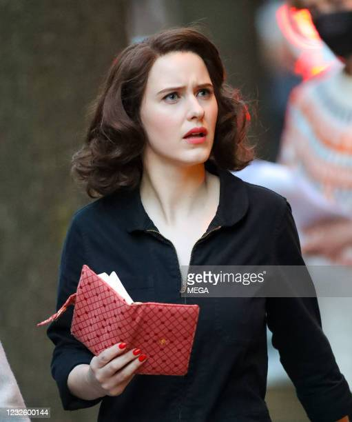 "Rachel Brosnahan is seen on set filming ""The Marvelous Mrs. Maisel"" on April 28, 2021 in New York City, New York."