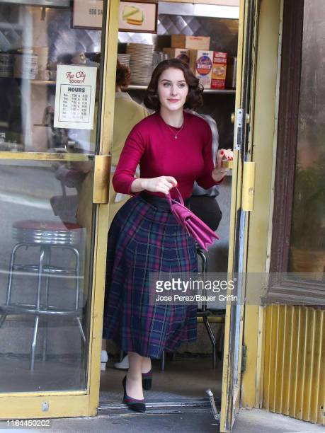 Rachel Brosnahan is seen on the film set of 'The Marvelous Mrs. Maisel' on August 27, 2019 in New York City.