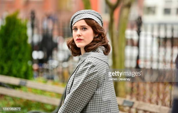 Rachel Brosnahan is seen on the set of 'The Marvelous Mrs. Maisel' in Abingdon Square on March 31, 2021 in New York City.