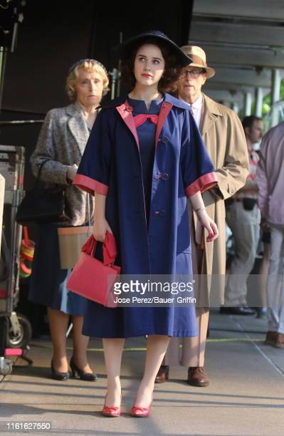 """Rachel Brosnahan is seen on the set of """"The Marvelous Mrs Maisel"""" on August 14, 2019 in New York City."""