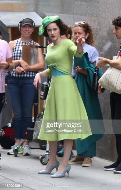 """Rachel Brosnahan is seen on the set of """"The Marvelous Mrs Maisel"""" on August 16, 2019 in New York City."""