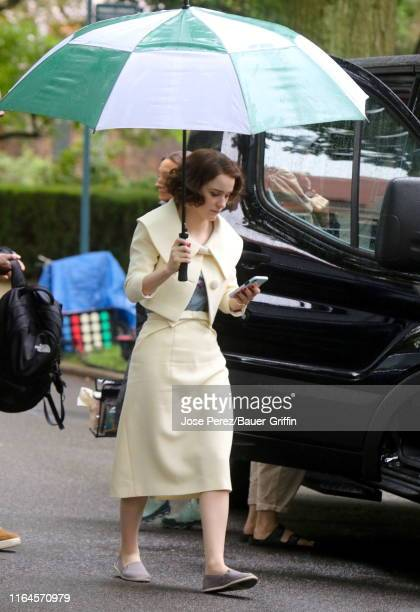 """Rachel Brosnahan is seen on the set of """"The Marvelous Mrs Maisel"""" on August 28, 2019 in New York City."""