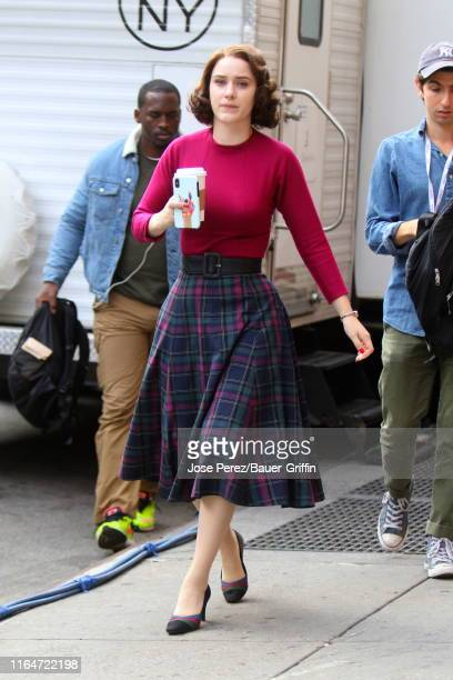 """Rachel Brosnahan is seen on the set of """"The Marvelous Mrs Maisel"""" on August 29, 2019 in New York City."""