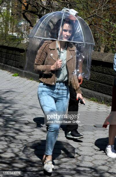 "Rachel Brosnahan is seen on the set of ""The Marvelous Mrs. Maisel"" on April 16, 2021 in New York City."