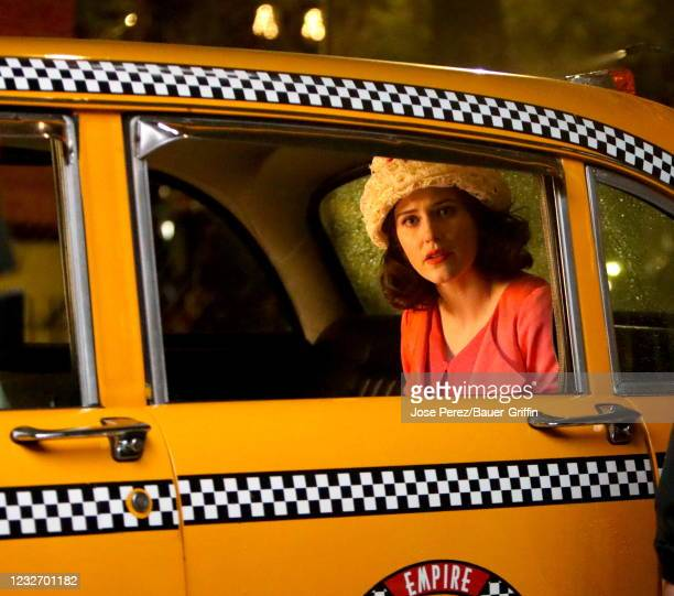 """Rachel Brosnahan is seen on the set of """"The Marvelous Mrs. Maisel"""" on May 04, 2021 in New York City."""