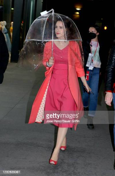 """Rachel Brosnahan is seen on the set of """"The Marvelous Mrs. Maisel"""" on May 11, 2021 in New York City."""