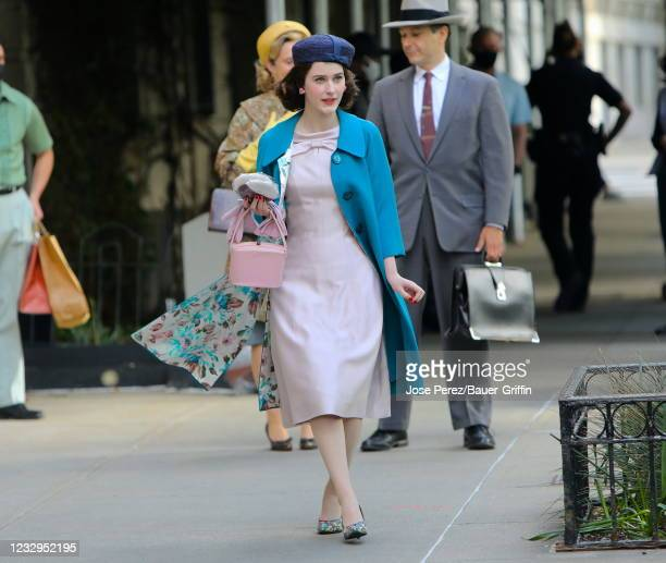 """Rachel Brosnahan is seen on the set of """"The Marvelous Mrs Maisel"""" on May 17, 2021 in New York City."""