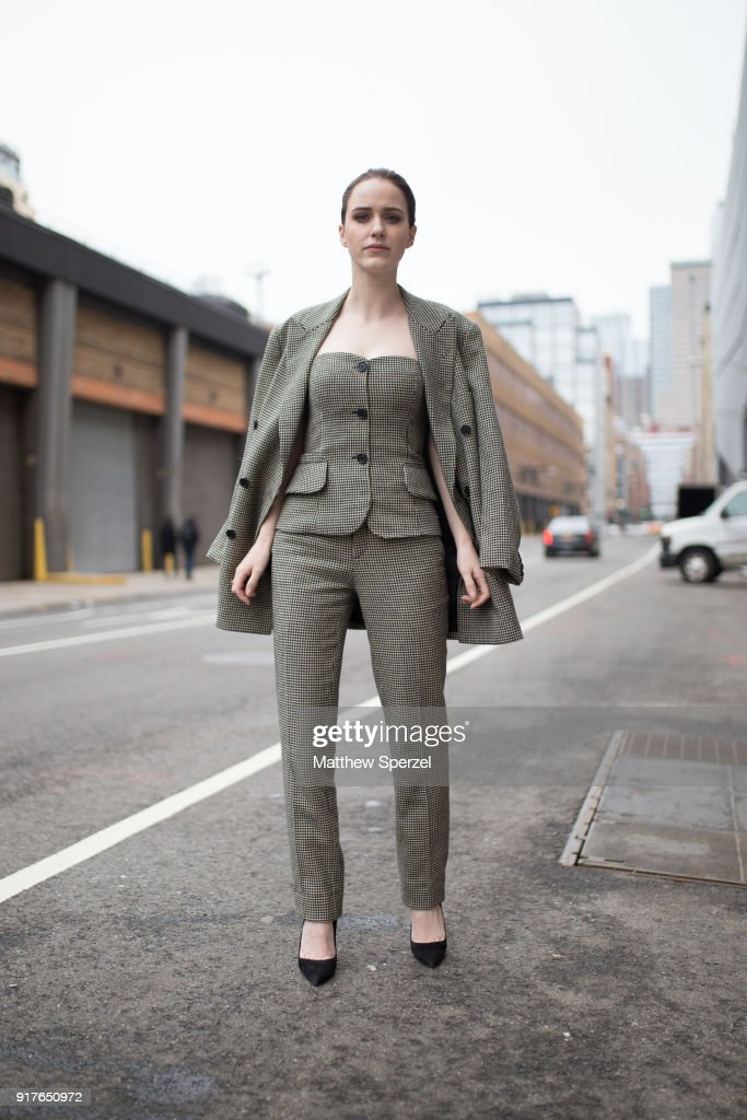 Rachel Brosnahan is seen on the street attending Ralph Lauren during New York Fashion Week wearing Ralph Lauren on February 12, 2018 in New York City.