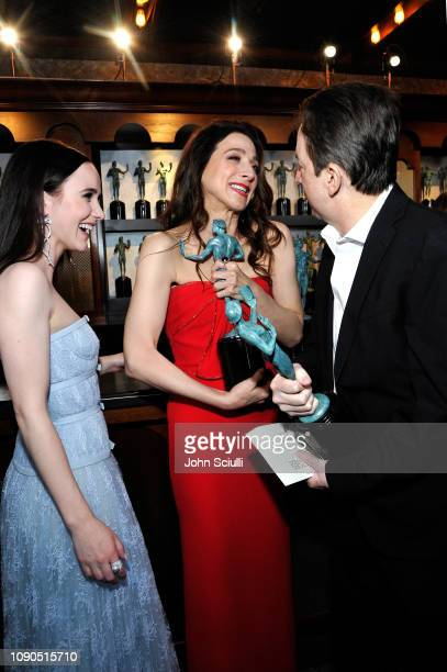 Rachel Brosnahan Marin Hinkle and Brian Tarantina attend the 25th Annual Screen ActorsGuild Awards at The Shrine Auditorium on January 27 2019 in...