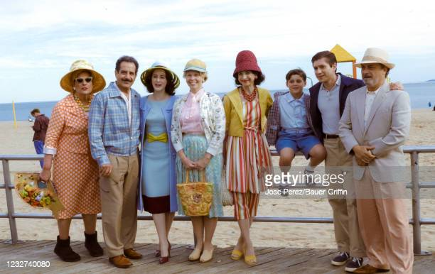 Rachel Brosnahan, Tony Shalhoub, Matilda Szydagis, Marin Hinkle, Kevin Pollak, Matteo Pascale and Michael Zegen are seen at the film set of 'The...
