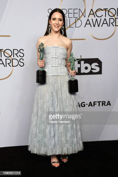 Rachel Brosnahan, winner of Outstanding Performance by an Ensemble in a Comedy Series and Outstanding Performance by a Female Actor in a Comedy...
