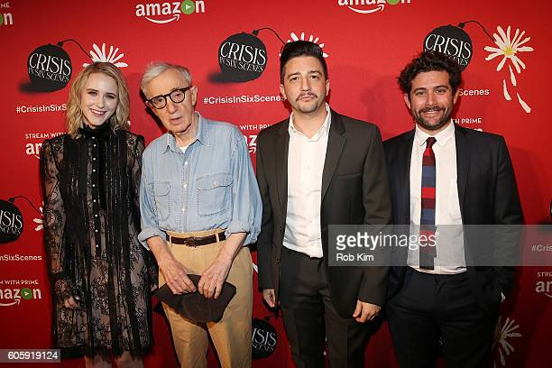 Rachel Brosnahan Woody Allen John Magaro and Joe Lewis attend the world premiere of 'Crisis in Six Scenes' at the Crosby Street Hotel on September 15...
