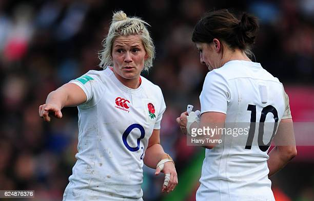 Rachel Burford of England Women gives instructions during the Old Mutual Wealth Series match between England Women and New Zealand Women at...