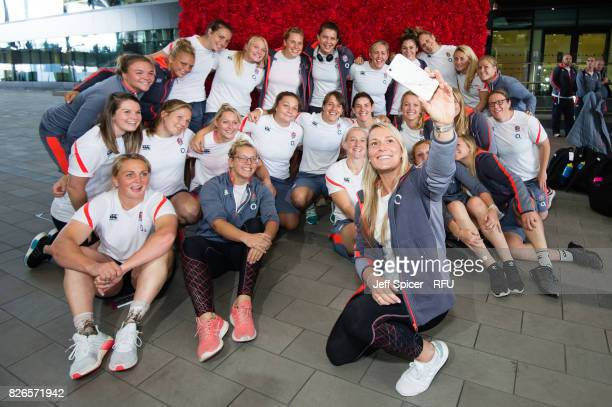 Rachel Burford takes a selfie with her England Womens' Rugby team mates as they depart for the Rugby World Cup at Heathrow Airport on August 5 2017...