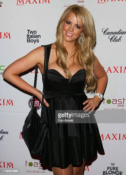 Rachel Burr arrives at the Maxim Australia magazine launch at the Museum of Sydney on July 19, 2011 in Sydney, Australia.
