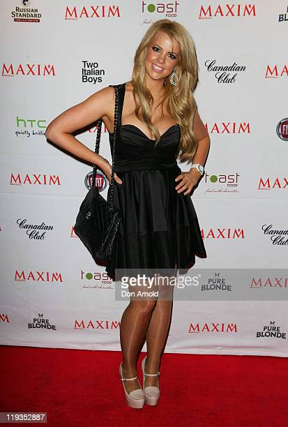 Rachel Burr arrives at the Maxim Australia magazine launch at the Museum of Sydney on July 19 2011 in Sydney Australia