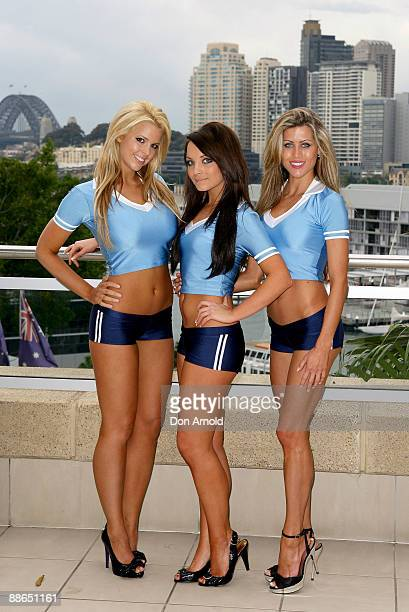 Rachel Burr, Gemma Gardner and Kristy-Lee Waine pose during the 'Face of Origin' competition at Star City on June 24, 2009 in Sydney, Australia.
