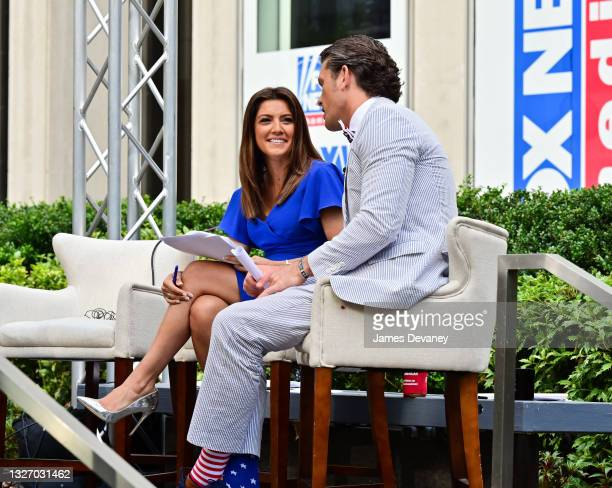 Rachel Campos-Duffy and Pete Hegseth celebrate Independence Day on 'Fox & Friends Weekend' on July 04, 2021 in New York City.