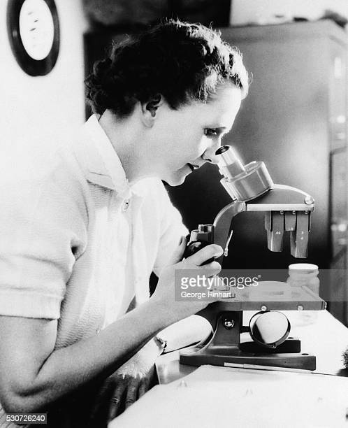 Rachel Carson, American author, looking through a microscope. Undated photograph. Underwood photograph BPA2# 1553