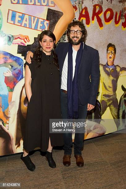Rachel Chavkin and Josh Groban attend 'The Royale' opening night at Mitzi E Newhouse Theater Lobby on March 7 2016 in New York City