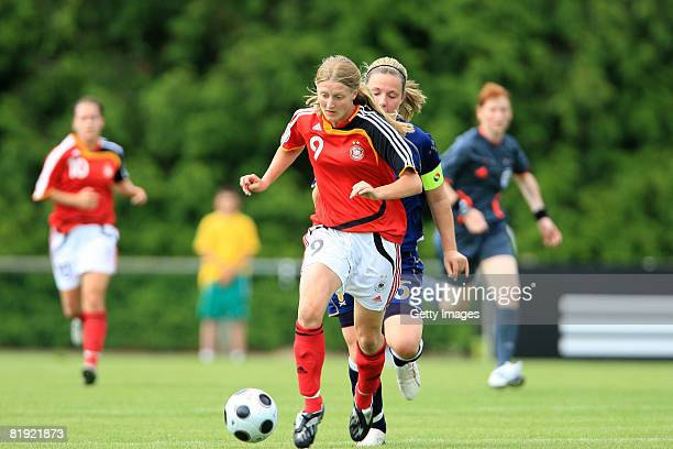 Rachel Corcie of Scotland and Marie Pollmann of Germany during the Women's U19 European Championship match between Scotland and Germany at the...