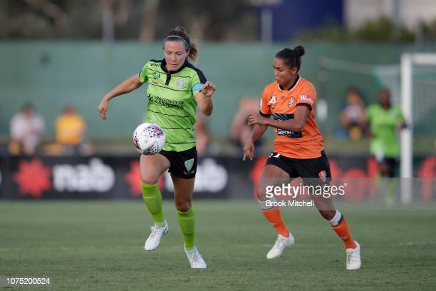 Rachel Corsie of Canberra United controls the ball during the round nine WLeague match between Canberra United and the Brisbane Roar at McKellar Park...