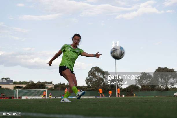 Rachel Corsie of Canberra United warms up before the round nine WLeague match between Canberra United and the Brisbane Roar at McKellar Park on...