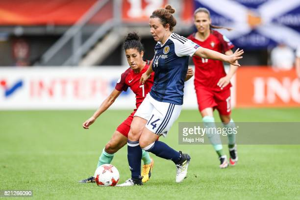 Rachel Corsie of Scotland and Claudia Neto of Portugal battle for the ball during the UEFA Women's Euro 2017 Group D match between Scotland v...