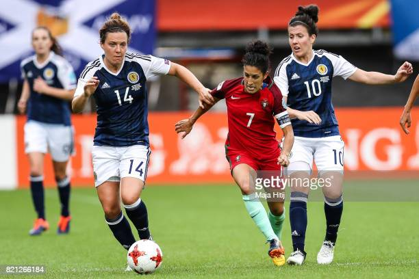 Rachel Corsie of Scotland Claudia Neto of Portugal and Leanne Crichton of Scotland battle for the ball during the UEFA Women's Euro 2017 Group D...