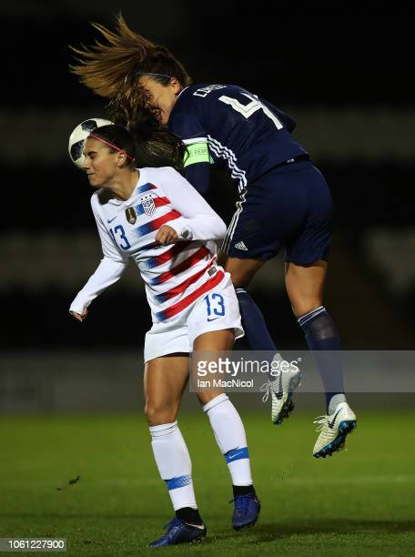 Rachel Corsie of Scotland vies with Alex Morgan of United States during the Women's International Friendly match between Scotland and United States...