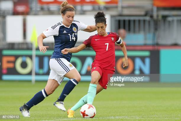 Rachel Corsie of Scotland women Claudia Neto of Portugal women during the UEFA WEURO 2017 Group D group stage match between Scotland and Portugal at...