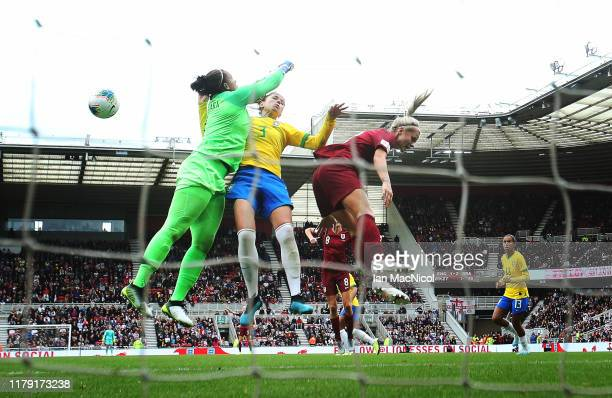 Rachel Daly of England heads at goal during the International friendly match between England and Brazil at Riverside Stadium on October 05 2019 in...