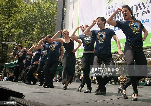 Rachel de Benedet with the cast of The Addams Family performs at 1067 Lite FM Presents Broadway in Bryant Park on July 29 2010 in New York City