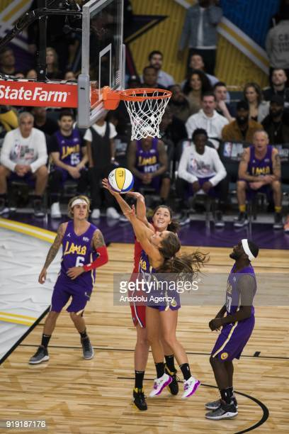 Rachel DeMita of Team Lakers is fouled by Dascha Polanco of Team Clippers during the 2018 NBA AllStar Celebrity Game as part of AllStar Weekend at...