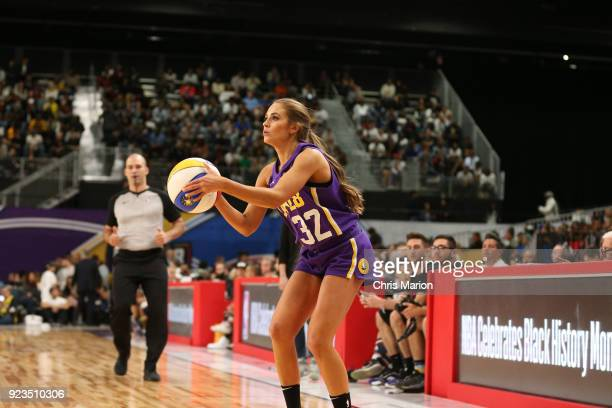 Rachel Demita shoots the ball during the NBA AllStar Celebrity Game presented by Ruffles as a part of 2018 NBA AllStar Weekend at the Los Angeles...