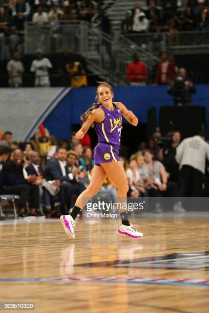 Rachel Demita smiles and runs up court during the NBA AllStar Celebrity Game presented by Ruffles as a part of 2018 NBA AllStar Weekend at the Los...