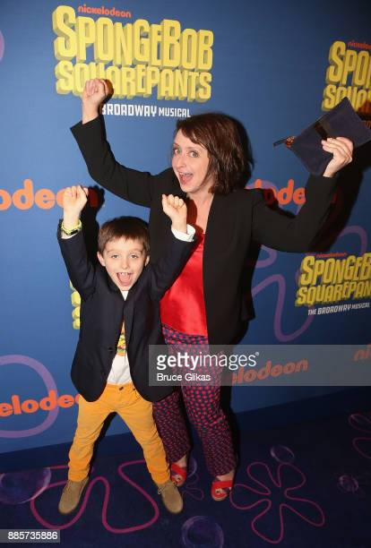 Rachel Dratch and son Eli Benjamin Wahl pose at the opening night arrivals for the new musical Spongebob Squarepants on Broadway at The Palace...
