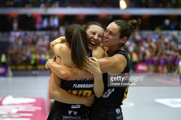 Rachel Dunn of Wasps celebrates the teams win with team mates during the Vitality Netball Superleague Grand Final between Loughborough Lightning and...