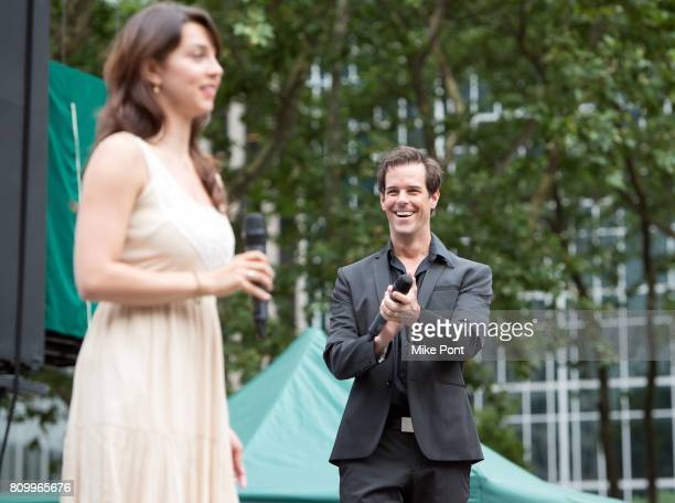 Rachel EskenaziGold and Jeremy Stolle from Broadway's 'Phantom of the Opera' perform during 1067 Lite FM's Broadway In Bryant Park 2017 at Bryant...