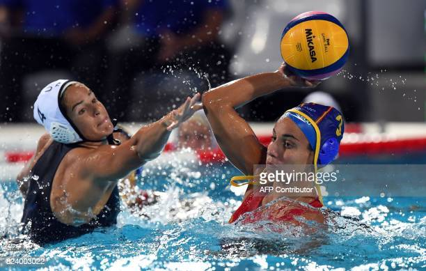 US Rachel Fattal fights for the ball with Anna Espar Llaquet of Spain in 'Hajos Alfred' swimming pool of Budapest on July 28 2017 during the woman...
