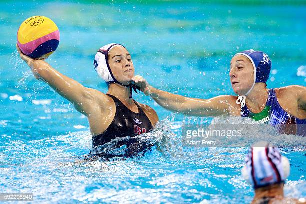 Rachel Fattal of United States competes during the Women's Water Polo Gold Medal match between the United States and Italy on Day 14 of the Rio 2016...