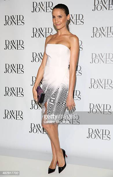 Rachel Finch arrives at the David Jones Spring/Summer 2014 Collection Launch at David Jones Elizabeth Street Store on July 30 2014 in Sydney Australia