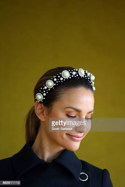 Rachel Finch poses at the MYER Marquee on Derby Day at Flemington Racecourse on November 4 2017 in Melbourne Australia