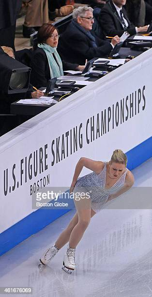 Rachel Flatt skates by some of the judges during the Championship Ladies Short Program at the US Figure Skating Championships being held at the TD...