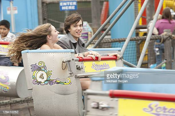 Rachel Fox and Remy Thorne ride the scrambler at the 11th Annual Mattel Party On The Pier at Santa Monica Pier on October 17 2010 in Santa Monica...