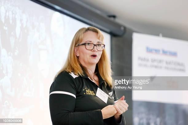 Rachel Froggatt of Paralympics New Zealand speaks during the Harvey Norman National Development Programme launch on September 7 2018 in Auckland New...