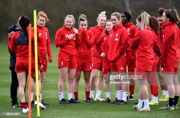 Rachel Furness Jemma Purfield Becky Jane Rhiannon Roberts Christie Murray Sophie BradleyAuckland and Rinsola Babajide of Liverpool Women during a...