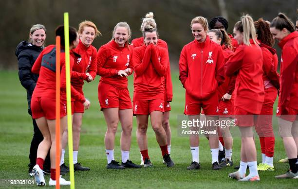 Rachel Furness Jemma Purfield Becky Jane Rhiannon Roberts Christie Murray and Sophie BradleyAuckland of Liverpool Women during a training session at...